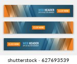 Stock vector abstract website header horizontal vector banners for your project 627693539