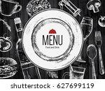 restaurant menu design. vector...   Shutterstock .eps vector #627699119