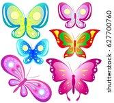 beautiful color butterflies set ... | Shutterstock . vector #627700760
