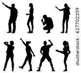 black set silhouettes of... | Shutterstock . vector #627702359