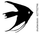 black silhouette of aquarium... | Shutterstock . vector #627702746