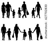 set silhouette of happy family... | Shutterstock . vector #627702830