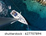 aerial view of sailboat yacht... | Shutterstock . vector #627707894