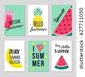 set of colorful summer poster... | Shutterstock .eps vector #627711050