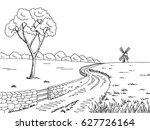 Rural Road Graphic Black White...