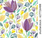 vector floral pattern in doodle ... | Shutterstock .eps vector #627726488