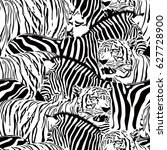 tiger and zebra seamless... | Shutterstock .eps vector #627728900
