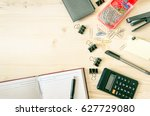 office desk table with book... | Shutterstock . vector #627729080
