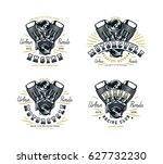 set of biker club emblem for t... | Shutterstock .eps vector #627732230