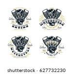 set of biker club emblem for t... | Shutterstock .eps vector #627732230