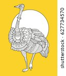 ostrich bird fashion vector... | Shutterstock .eps vector #627734570