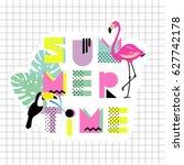 summer time. hand drawn font... | Shutterstock .eps vector #627742178