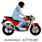 color classic motorcycle with... | Shutterstock .eps vector #627746180