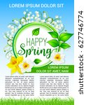happy spring poster with... | Shutterstock .eps vector #627746774