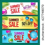 summer sale vector banner set... | Shutterstock .eps vector #627748070