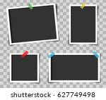set of vintage photo frame with ... | Shutterstock .eps vector #627749498