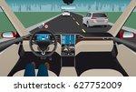 autonomous self driving car...   Shutterstock .eps vector #627752009