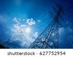 electricity transmission pylon...   Shutterstock . vector #627752954