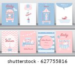 set of baby shower invitation... | Shutterstock .eps vector #627755816