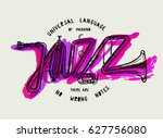 jazz trumpet word in purple... | Shutterstock .eps vector #627756080