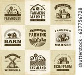 vintage organic farming labels... | Shutterstock . vector #627756728