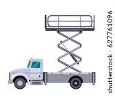 aerial man utility scissor lift ... | Shutterstock .eps vector #627761096