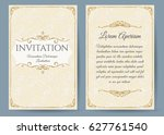 baroque invitation card in... | Shutterstock .eps vector #627761540