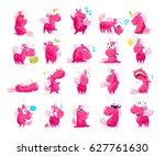 collection of flat funny... | Shutterstock . vector #627761630