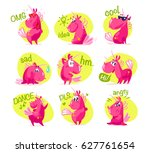 collection of flat funny... | Shutterstock . vector #627761654