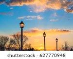 Three Street Lamps At Sunset...