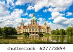 Stock photo panorama of new city hall in hannover in a beautiful summer day germany 627773894