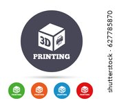 3d print sign icon. 3d cube... | Shutterstock .eps vector #627785870