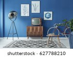 spacious blue living room with... | Shutterstock . vector #627788210