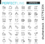 drinks thin line web icons set. ... | Shutterstock .eps vector #627791354
