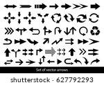 vector set of black arrows on a ... | Shutterstock .eps vector #627792293