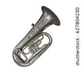 musical brass instrument  ... | Shutterstock . vector #627804230
