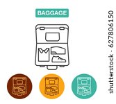 open suitcase. luggage icon.... | Shutterstock .eps vector #627806150