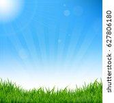 blue sky and grass background  | Shutterstock . vector #627806180