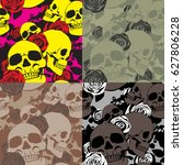 skulls and roses make up a... | Shutterstock .eps vector #627806228