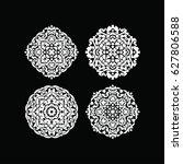 hand drawn round lace design... | Shutterstock .eps vector #627806588