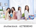 teenagers having fun on slumber ... | Shutterstock . vector #627808040