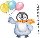 watercolor cute baby penguin... | Shutterstock . vector #627808160