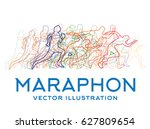 running people. marathon... | Shutterstock .eps vector #627809654