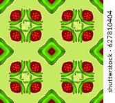 strawberry kaleidoscope.... | Shutterstock .eps vector #627810404