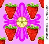 strawberry and flower. seamless ... | Shutterstock .eps vector #627810554