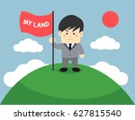 business man holding flag and... | Shutterstock .eps vector #627815540