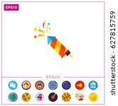 colorful striped slapstick icon | Shutterstock .eps vector #627815759