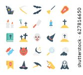 halloween colored vector icons 2 | Shutterstock .eps vector #627816650