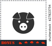 pig icon flat. simple... | Shutterstock . vector #627823754