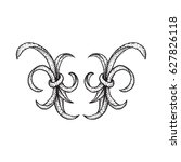 vector blackwork tattoo hand... | Shutterstock .eps vector #627826118